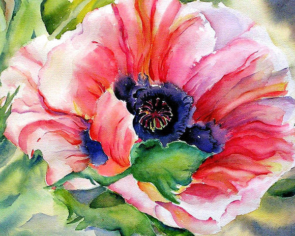 Poppy Poster featuring the painting Poppy In The Pink by Barbara Jung