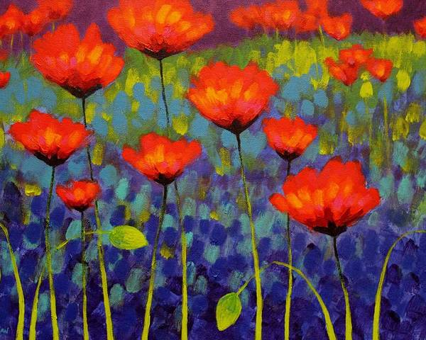 Acrylic Poster featuring the painting Poppy Meadow  Cropped 2 by John Nolan