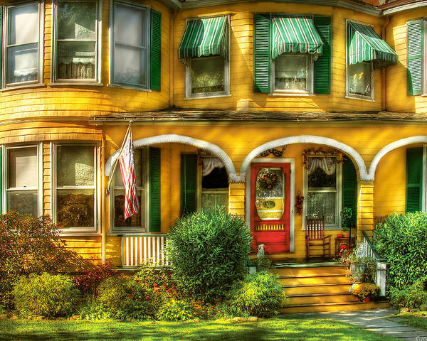 Savad Poster featuring the photograph Porch - Cranford Nj - A Yellow Classic by Mike Savad