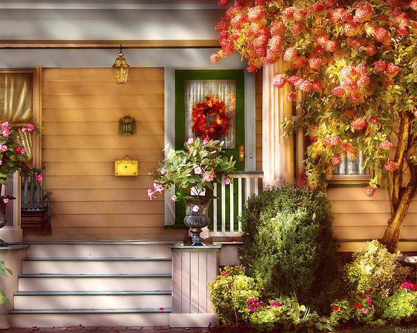 Savad Poster featuring the photograph Porch - Cranford Nj - Simply Pink by Mike Savad