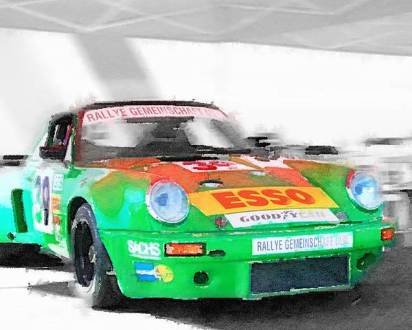 Porsche 911 Turbo Watercolor Poster By Naxart Studio