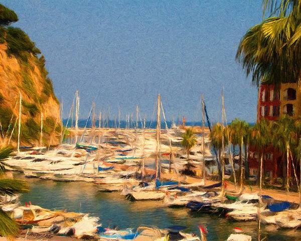 Port De Fontvieille Poster featuring the painting Port De Fontvieille by Jeff Kolker