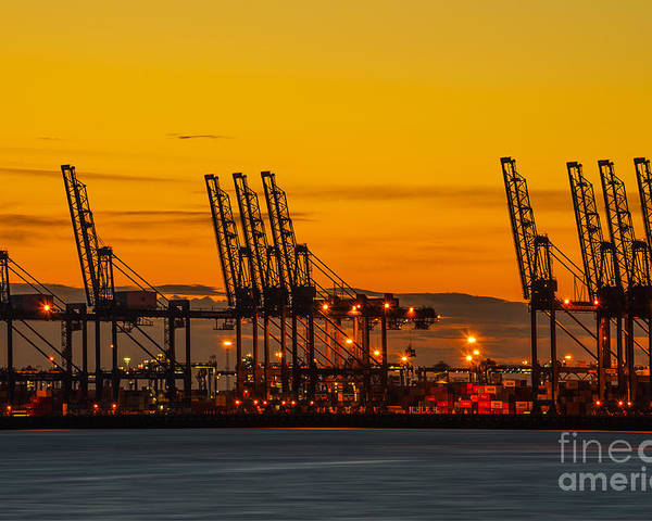 Bay Poster featuring the photograph Port Of Felixstowe by Svetlana Sewell