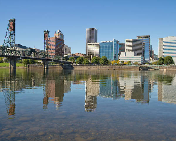 Portland Poster featuring the photograph Portland Downtown Skyline And Hawthorne Bridge by Jit Lim
