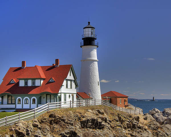 Atlantic Ocean Poster featuring the photograph Portland Head Light by Joann Vitali