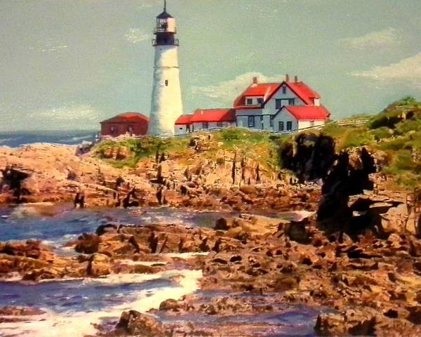 Lighthouse Poster featuring the painting Portland's Finest by Ashley Casterline
