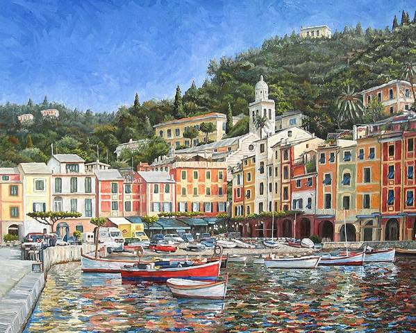 Portofino Poster featuring the painting Portofino Italy by Mike Rabe