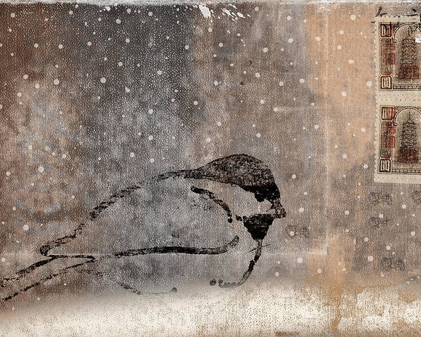 Postcard Poster featuring the photograph Postcard Chickadee In The Snow by Carol Leigh