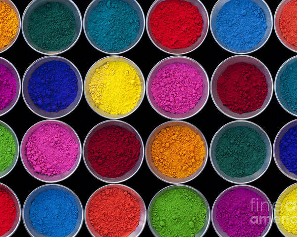 Pots Of Indian Coloured Powder Poster featuring the photograph Pots Of Coloured Powder Pattern by Tim Gainey