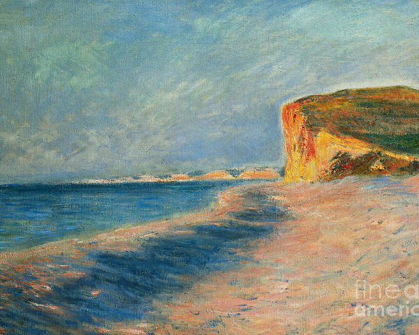Outdoor; Outdoors; Outside; Painting; Peace; Peaceful; Perspective; Picturesque; Positive Concepts; Pourville; Pourville Pres De Dieppe; Quiet; Receding View; Rock; Sea; Seine Maritime; Shore; Shoreline; Sky; Still; Sun; Sunlight; Sunny; Tide; Time Of Day; Tranquil; Tranquility; Water; Waves Poster featuring the painting Pourville Near Dieppe by Claude Monet