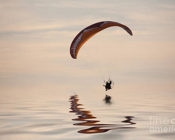 Paramotoring Poster featuring the photograph Powered Paraglider by John Edwards