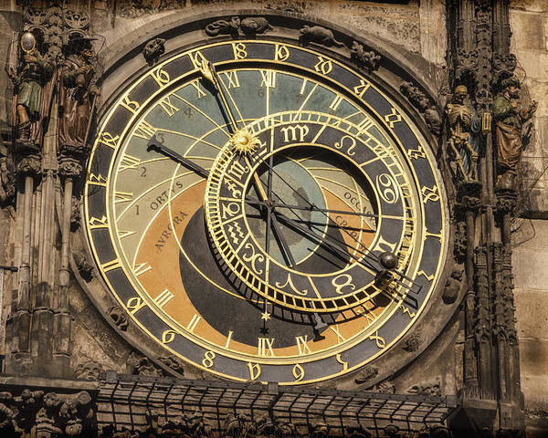 Joan Carroll Poster featuring the photograph Prague Astronomical Clock by Joan Carroll
