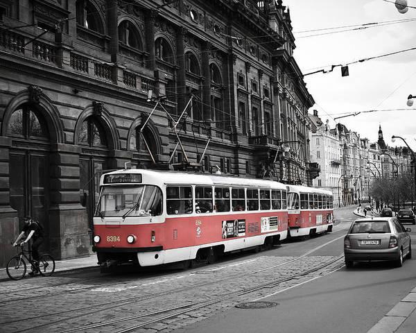 Prague Poster featuring the photograph Prague Tram Vintage by Calvin Hanson
