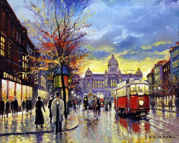 Oil On Canvas Poster featuring the painting Prague Vaclav Square Old Tram Imitation By Cortez by Yuriy Shevchuk