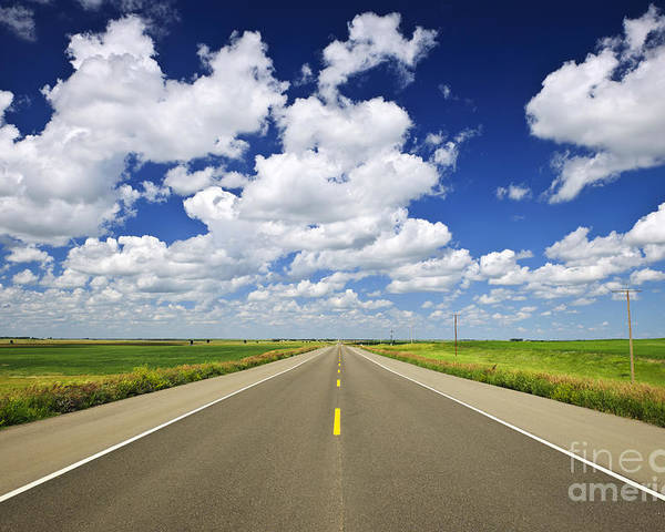 Highway Poster featuring the photograph Prairie Highway by Elena Elisseeva