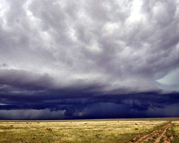 Landscape Poster featuring the photograph Prairie Storm by Pam Romjue