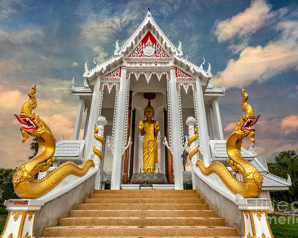 Hdr Poster featuring the photograph Pranburi Temple by Adrian Evans