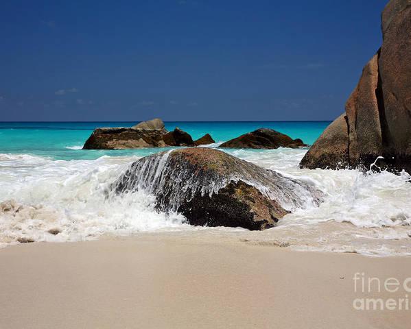 Beach Poster featuring the photograph Praslin Island Waves by Kate McKenna