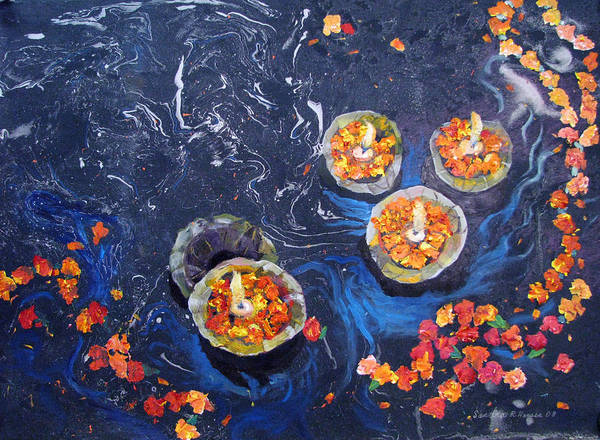 Handmade Paper Poster featuring the painting Prayers To The Ganges River by Art Nomad Sandra Hansen