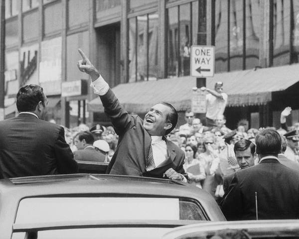 History Poster featuring the photograph President Nixon Pointing At The Crowd by Everett