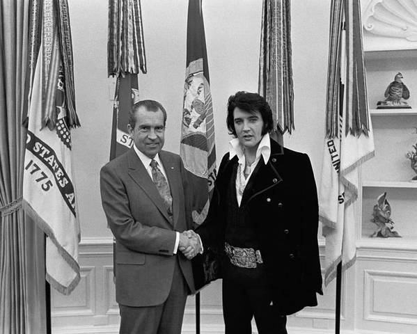 History Poster featuring the photograph President Richard Nixon And Elvis by Everett
