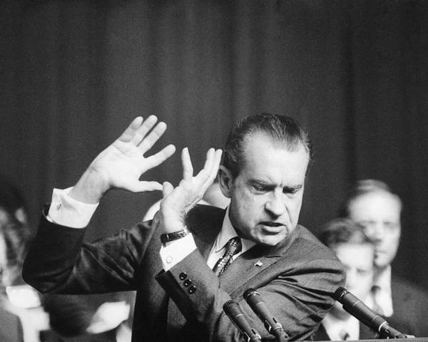 History Poster featuring the photograph President Richard Nixon Gesturing by Everett
