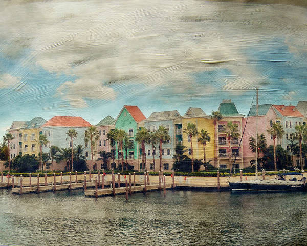 Nassau Poster featuring the photograph Pretty Houses All In A Row Nassau by Kathy Jennings