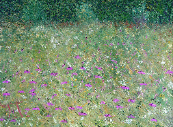 Purple Cone Flowers Prairie Poster featuring the painting Priairie Cone Flowers by Troy Thomas