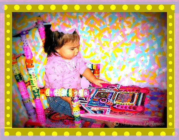 Child In A Rocking Chair Print Poster featuring the painting Princess Bella In The Original Magical Rocking Chair by Maryann DAmico