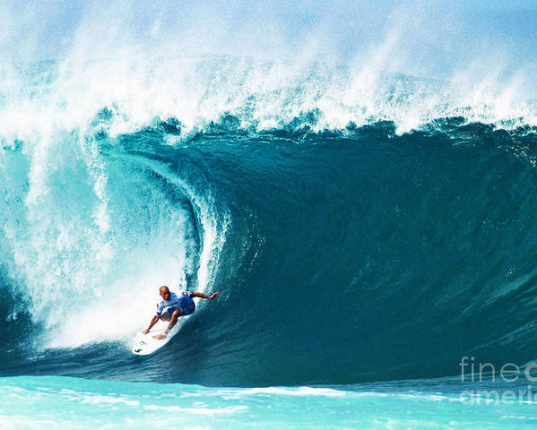 Kelly Slater Poster featuring the photograph Pro Surfer Kelly Slater Surfing In The Pipeline Masters Contest by Paul Topp