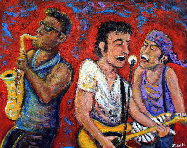 Bruce Springsteen Poster featuring the painting Prove It All Night Bruce Springsteen and The E Street Band by Jason Gluskin