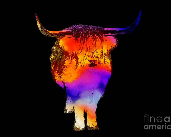 Cow Poster featuring the painting Psychedelic Bovine by Pixel Chimp
