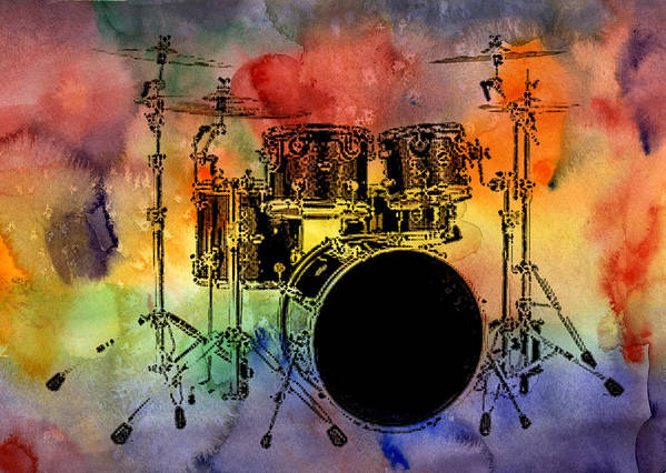 Drums Poster featuring the photograph Psychedelic Drum Set by Athena Mckinzie