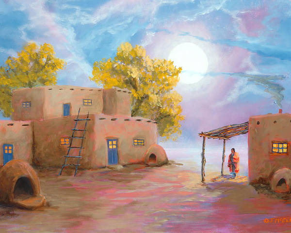 Pueblo Poster featuring the painting Pueblo De Las Lunas by Jerry McElroy