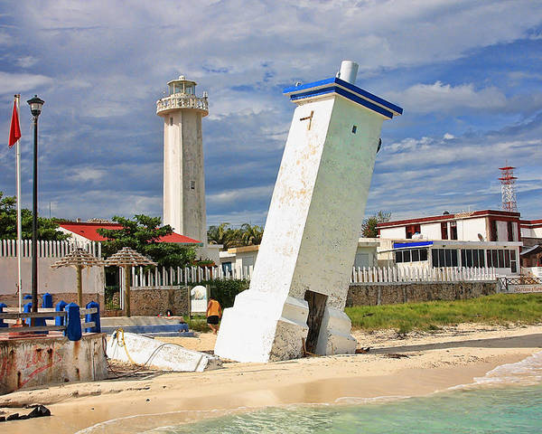 Lighthouse Poster featuring the photograph Puerto Morelos Lighthouses by Paul Williams
