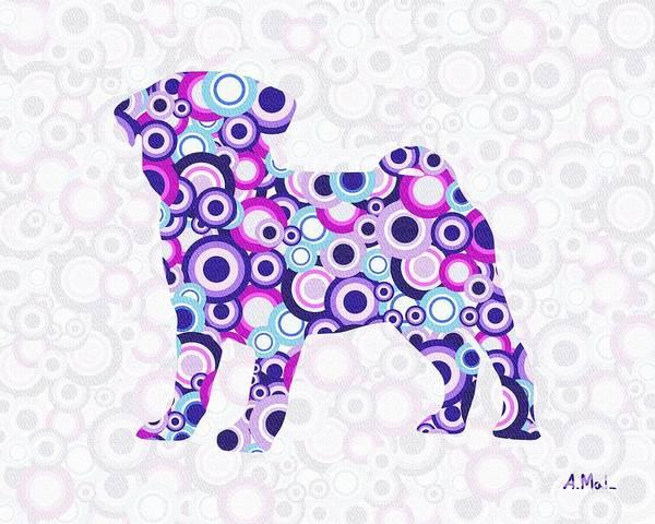 Malakhova Poster featuring the digital art Pug - Animal Art by Anastasiya Malakhova