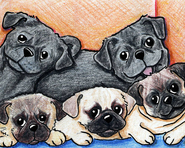 Pug Poster featuring the drawing Pugs Party Of Five by Kim Niles