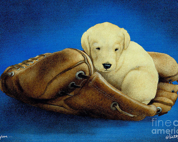 Will Bullas Poster featuring the painting Puppy Glove... by Will Bullas