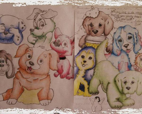 Puppies Poster featuring the drawing Pups by Edward Cormier Jr