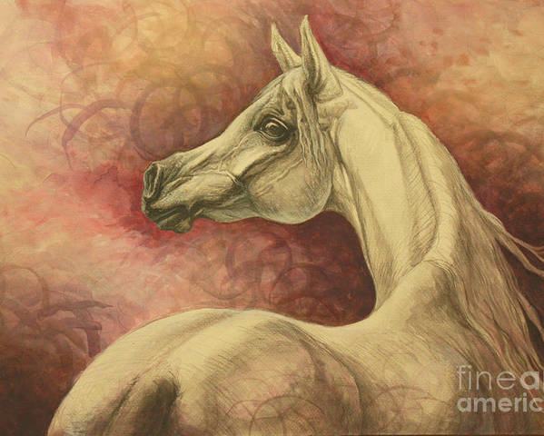 Horse Poster featuring the painting Purple Emotion by Silvana Gabudean Dobre