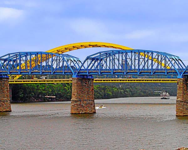 Newport Southbank Bridge Poster featuring the photograph Purple People Bridge And Big Mac Bridge - Ohio River Cincinnati by Christine Till