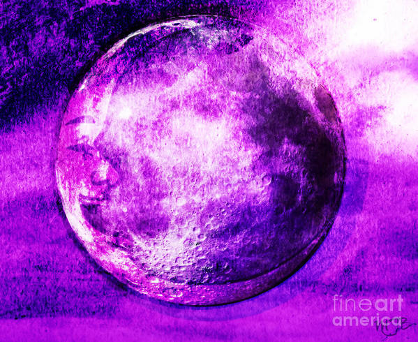 Art Poster featuring the digital art Purple Side Of The Moon by Mindy Bench