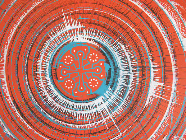 Spin Art Poster featuring the painting Quadrospora by Lance Bifoss