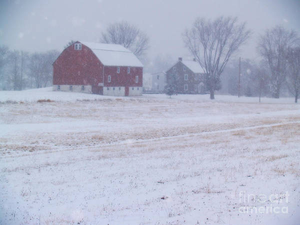 Farm Poster featuring the photograph Quakertown Farm On Snowy Day by Anna Lisa Yoder