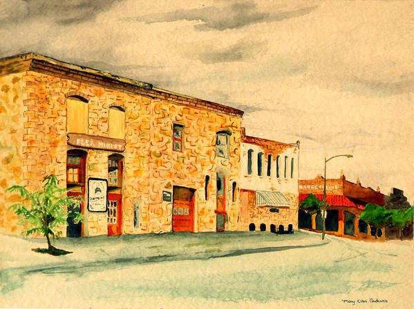 Architecture Poster featuring the painting Quantrill's Flea Market - Lawrence Kansas by Mary Ellen Anderson