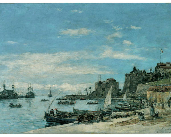 Eugene Boudin Poster featuring the painting Quay At Villefranche by Eugene Boudin