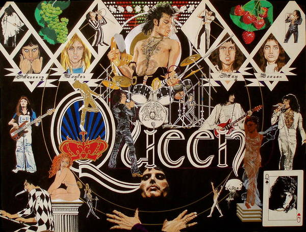 Freddie Mercury;brian May;roger Taylor;john Deacon;guitars;crown;royal;grapes;strawberries;drums; Poster featuring the drawing Queen - Black Queen White Queen by Sean Connolly
