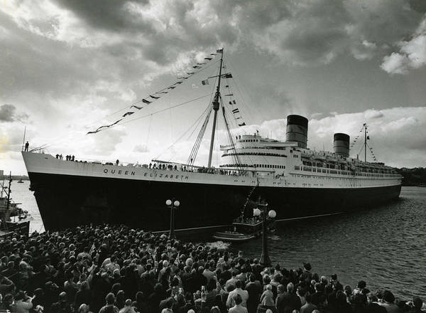 Ship Poster featuring the photograph Queen Elizabeth Ship In Harbor By Barney Stein by Retro Images Archive