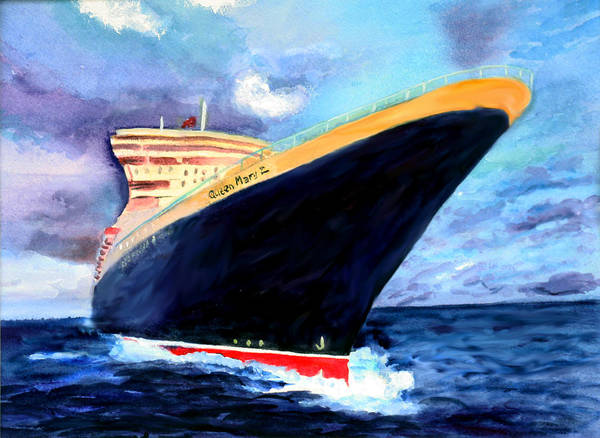 Ocean Liner Poster featuring the painting Queen Mary 2 by Donna Walsh