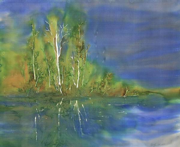 Batik Poster featuring the tapestry - textile Quiet Stream by Carolyn Doe